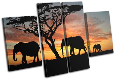 Elephants African Sunset Animals - 13-2009(00B)-MP17-LO